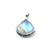 Teardrop Rainbow Moonstone Pendant Silver banded stone 'One-Off'